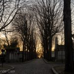 Sunset over Paris' Pere Lachaise cemetery.