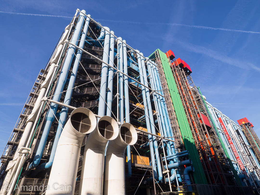 The eye-catching colourful facade of the Pompidou Centre, home of Paris' modern & contemporary arts.