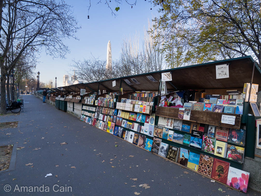 Booksellers lining the banks of the Seine in Paris.
