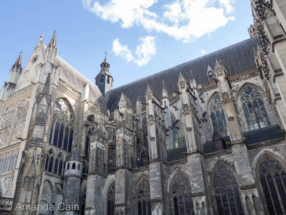 Flying buttresses along the side of Tours cathedral.
