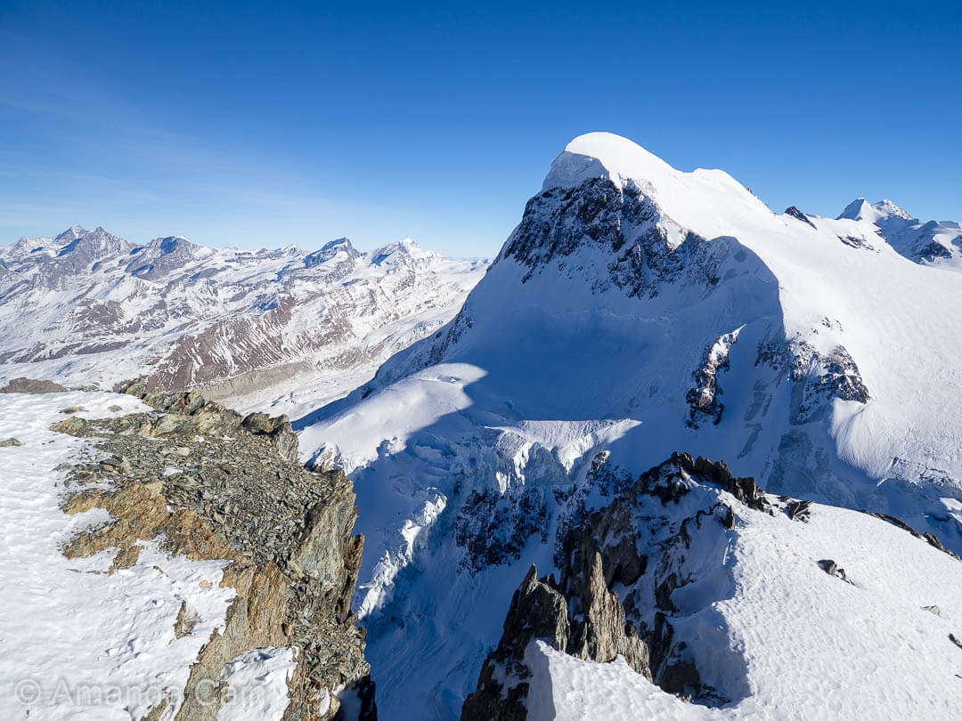 The Breithorn mountain from the top of the Swiss Alps.