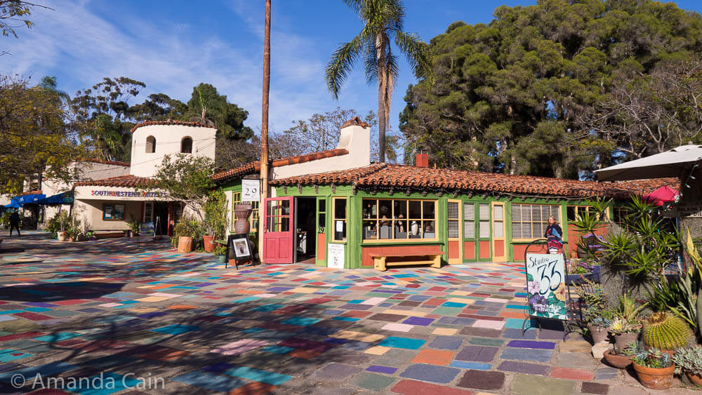"The ""Spanish Village"" in Balboa Park, where you can buy all sorts of locally made arts & crafts."