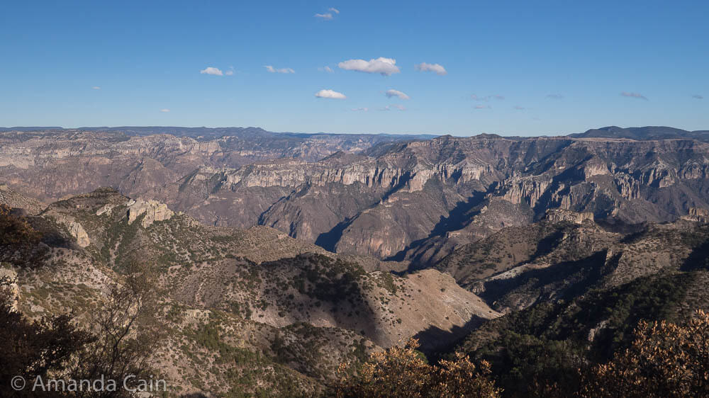 Our first look into the deepest section of Copper Canyon at Posada Barrancas. The canyon is about twice as deep as you can see in this photo.