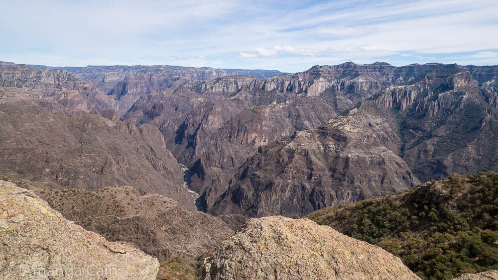 The view from the cable car station lookout. You can actually see the Urique River at the bottom of Copper Canyon from here.