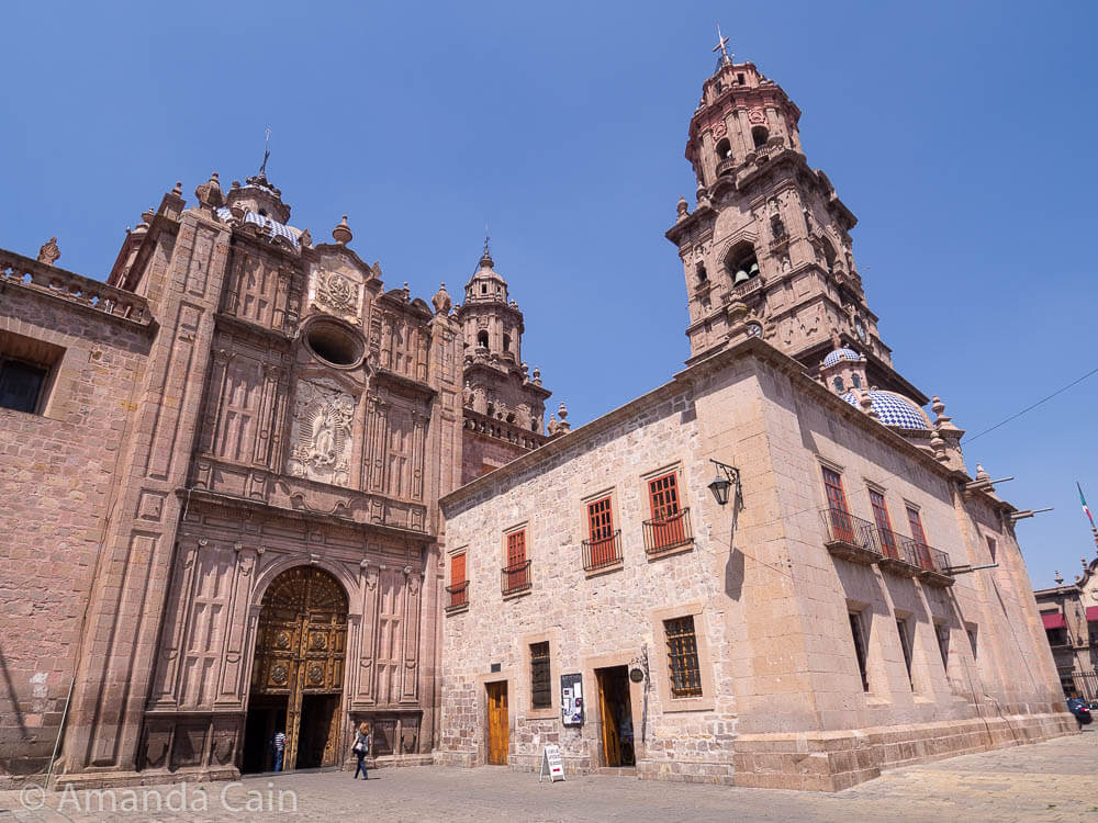 The side of Morelia's cathedral.