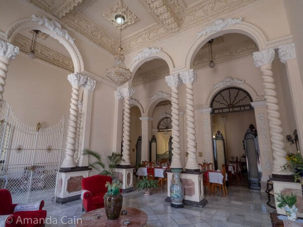 Inside one of the old palaces of Cienfuegos.