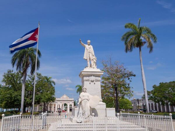 The statue of Jose Marti in the centre of the park named after him.