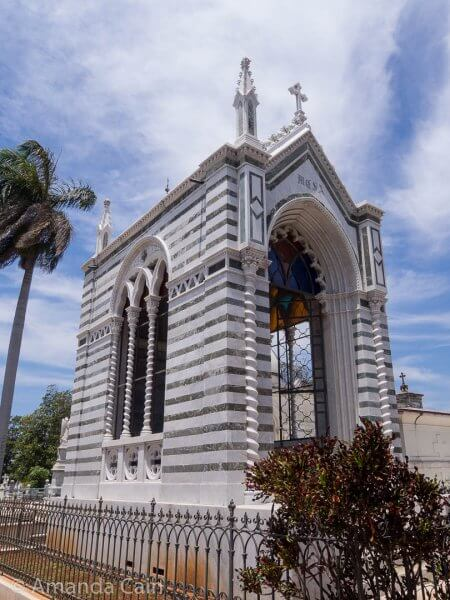 One of the many elaborate tombs in Cristobal Colon Cemetery.