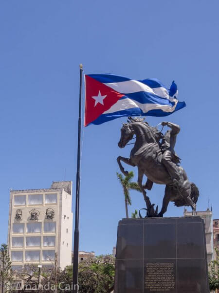 Cuba's revolutionaries: Jose Marti (guy on the horse) began the revolution against Spain, and on the building behind you have Fidel Castro, Camilo Cienfuegos and Che Guevara.