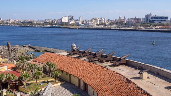 Cannons pointing across the harbour to Old Havana.