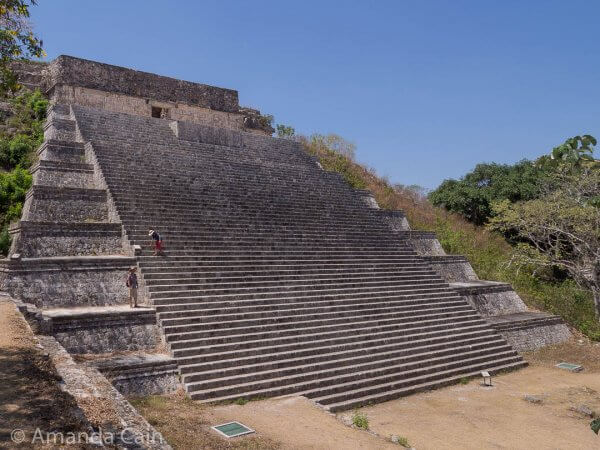 The Great Pyramid of Uxmal. The climb is pretty difficult in the middle of a 42°C day.