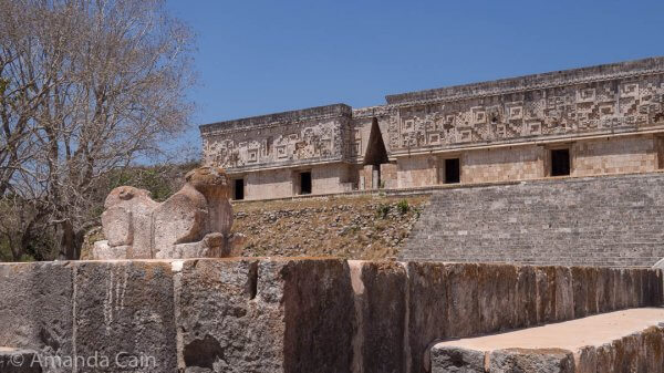 The Governor's Palace of Uxmal, with the double headed jaguar throne in front.