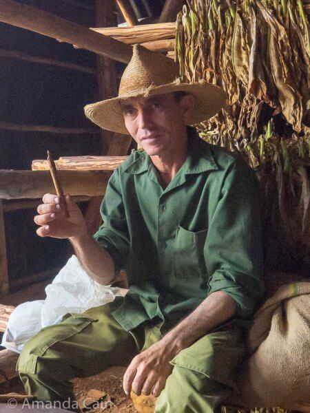A tobacco farmer showing us how to roll cigars.