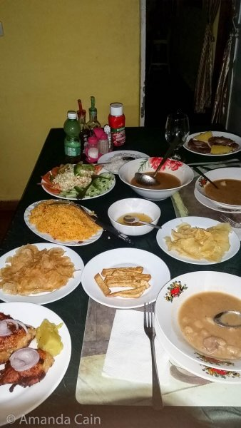 A typical meal for two in our Viñales casa.