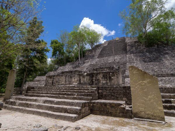 Structure 1 at Calakmul, one of the largest Mayan pyramids. The stairs look like normal size, but they're twice as tall.