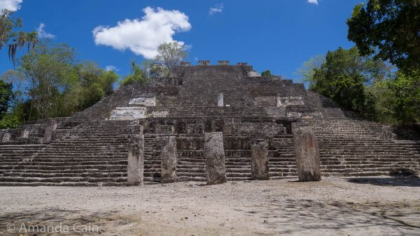 The massive pyramid of Structure 2 in Calakmul. This is one of the largest Mayan pyramids. The base measures 120 metres x 120 metres and it is 45 metres high. One thing that is not clear from this photo is that the steps are twice the height of normal modern steps. It's hard work climbing Mayan pyramids.