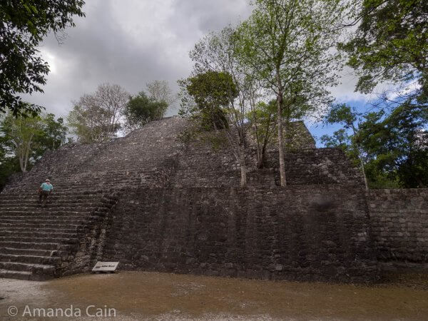 """One of the """"smaller"""" pyramids at Calakmul. From the top of here you can see the two big pyramids sticking up out of the jungle."""