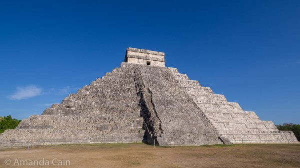 A close up of the unrestored section (left & centre) of El Castillo at Chichen Itza. As you can see, it's still in pretty good shape.