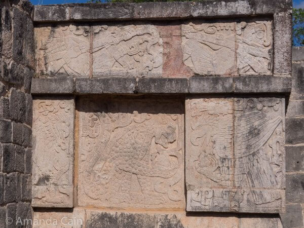 In this carving from Chichen Itza you can see an eagle and a jaguar (both sacred animals to the Mayans) eating human hearts.