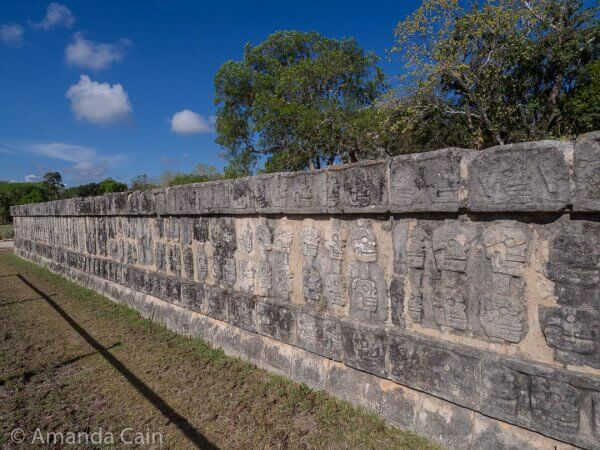This stone platform is where the Mayans displayed the severed heads of the players that were sacrificed to the gods after the ball game. As you can see it's quite large. So the Mayans would have accumulated a lot of heads over the centuries.