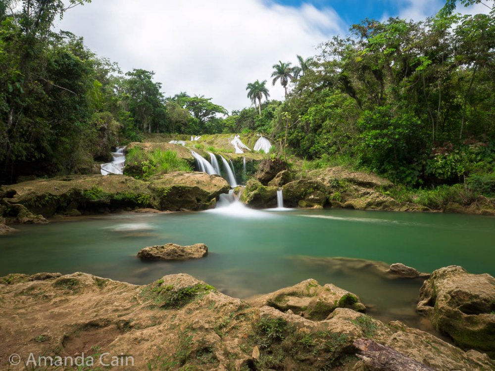 "The ""Three Wishes"" waterfall of El Nicho park."