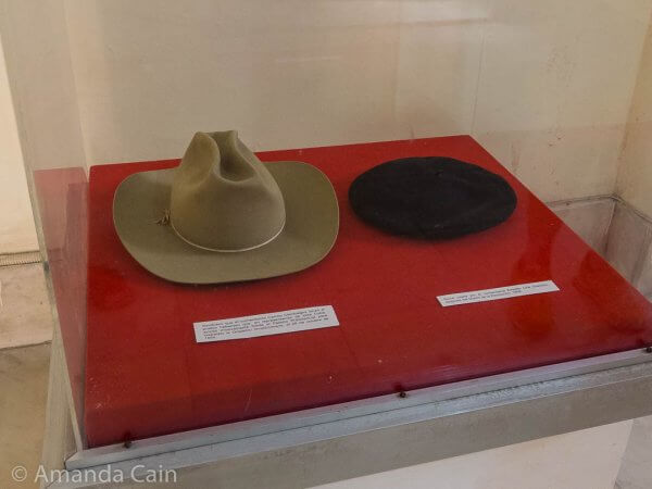 In Havana's Revolutionary Museum you can see two famous hats: Che Guevara's beret, and Camilo Cienfuegos's farmer's hat. All they need is Fidel Castro's patrol cap to complete the revolutionary trio.