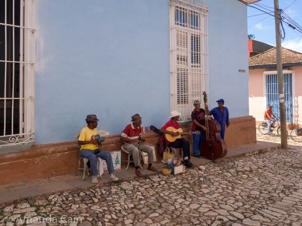Musicians playing on the streets of Trinidad.