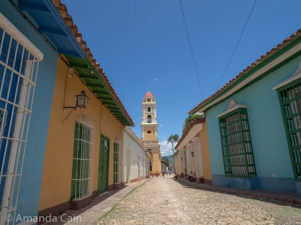 Cobblestone streets and colourful houses in Trinidad's old town.