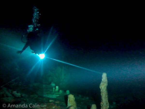 A diver (the dark thing above the light) floating through the cave in Cenote Dreamgate.