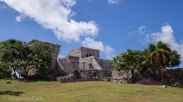 The tallest building in Tulum: El Castillo (The Castle). It's a pyramid with a square-shaped temple on top. Unfortunately you can't get anywhere near it.