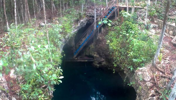 The entrance to Cenote El Pit. Steep slippery steps + heavy dive gear = good leg workout.