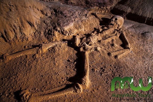 One of the human sacrifices made by the ancient Mayans in Actun Tunichil Muknal cave. Over the centuries the bones have been coated by limestone deposits.