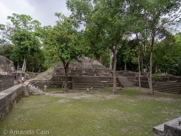 One of the plazas of Cahal Pech, surrounded by small pyramid-temples on all sides.