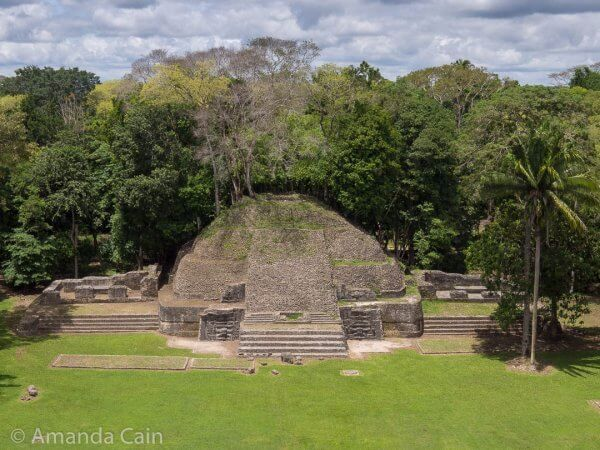 A partially restored pyramid-temple in Caracol.