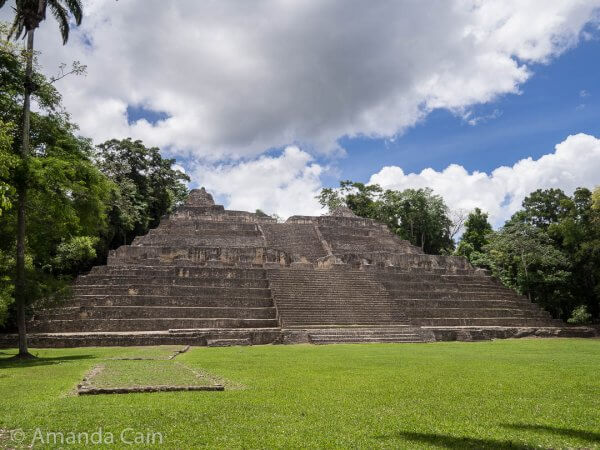 The Sky Palace of Caracol. Like most other Mayan ruins, the main steps in the centre of the pyramid are twice the height of normal stairs.
