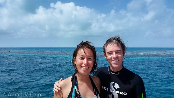 Very happy divers coming up from the Great Blue Hole of Belize.