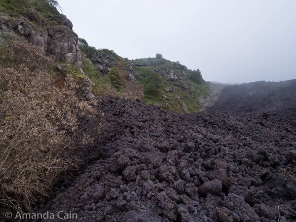 Close up of the recent lava flow. It's still pretty warm just below the surface rocks.