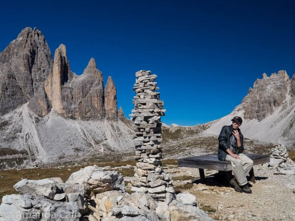Pedr contemplating his next move at the world's most scenic Jenga.
