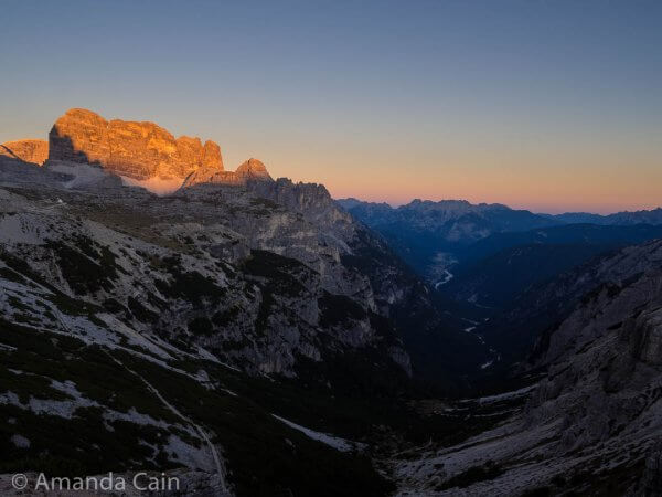 Sunset over the valley below the Tre Cime.
