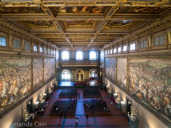 The enormous Room of 500 inside the Palazzo Vecchio.
