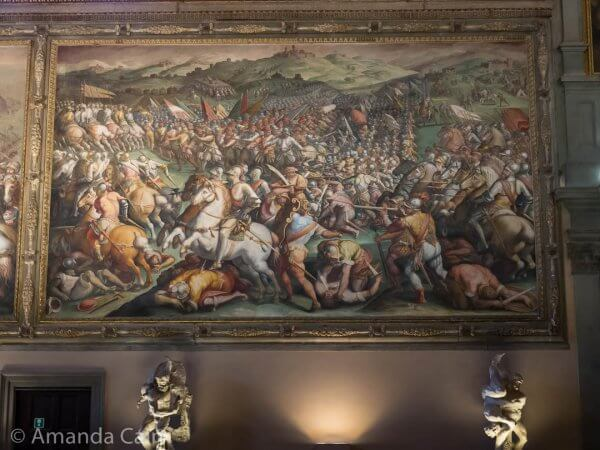 A painting of The Battle of Anghiari. Behind this they think that there could be a lost painting by Leonardo da Vinci.