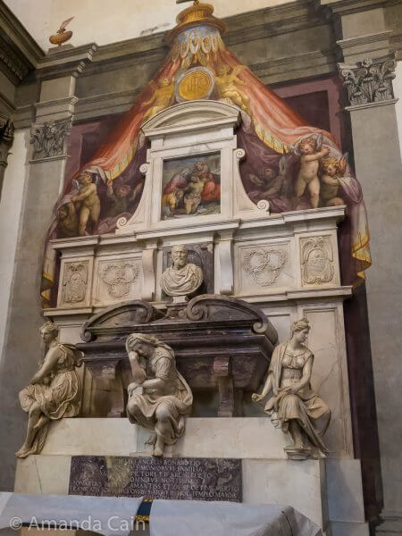 Michelangelo's tomb in Santa Croce church.