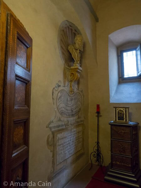 Galileo's original tomb, hidden away in a tiny backroom of the church.