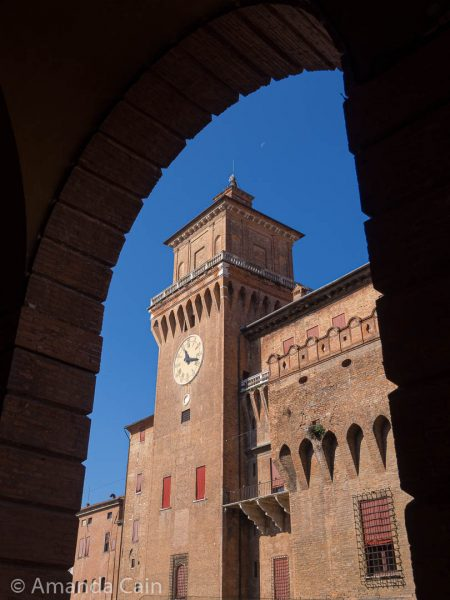 Castello Estense and the crescent moon above the tower.