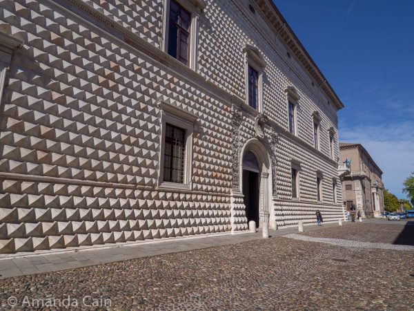 "The Diamond Palace of Ferrara. It got this name from the way the stones used to build the palace were carved to look like ""diamonds""."