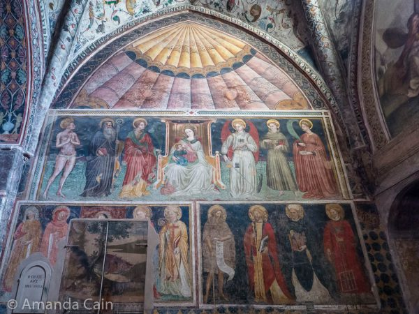 The preserved medieval murals in the Monastery of Sant'Antonio in Ferrara.