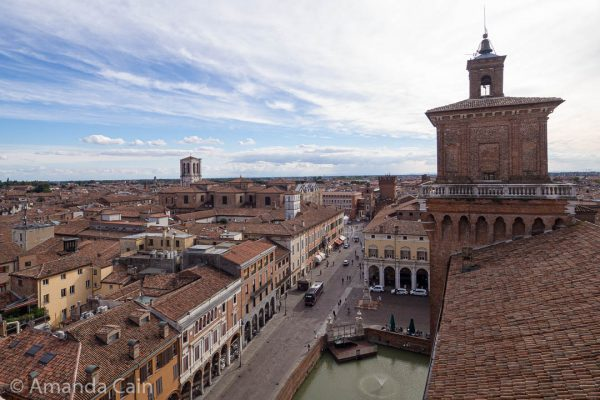 The view over the city of Ferrara from the top of Castello Estense.
